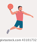 Flat design basketball player dunk vector 43101732