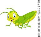 Cartoon happy grasshopper 43101740