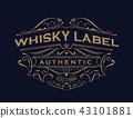 whisky label antique typography vintage frame logo 43101881