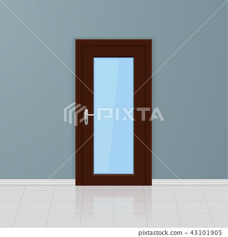 Brown wooden glass door on a gray wall. Interior design 43101905