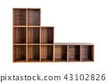 Empty wooden shelf isolated on white background. 43102826