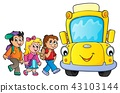 Children by school bus theme image 3 43103144