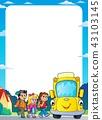 Children by school bus theme frame 2 43103145