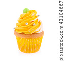 Yellow cupcake isolated on white background 43104667
