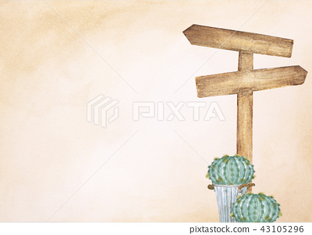 wooden signpost with cactus on brown background 43105296