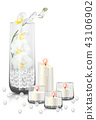 orchid branch in clear vase and candles 43106902
