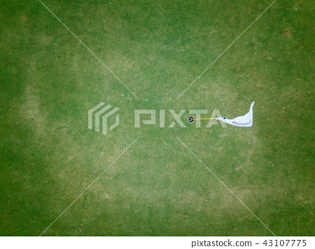 aerial view of golf hole with flag in golf course 43107775