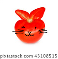 Red fresh tomato isolated (rabbit shape) with ears 43108515