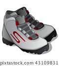 Pair of grey ski boots isolated on white background. Modern clothing for winter sports. Vector 43109831