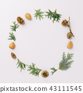 Christmas wreath on white table 43111545