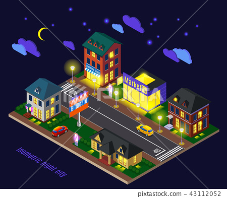 Night Suburb Isometric Composition 43112052