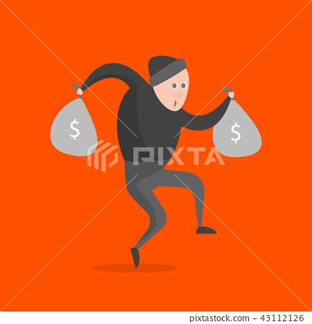 Cartoon Thief Character on a Orange Background. Vector 43112126