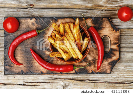 French fries , fast food, American food, top view 43113898