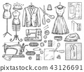 Tailoring and dressmaking vector sketch icons 43126691
