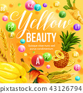 Yellow diet vector fruits and vegetables vitamins 43126794