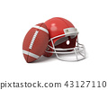3d rendering of a red American football helmet lying near a red oval ball on a white background. 43127110