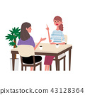 Illustration of a woman talking at a cafe 43128364