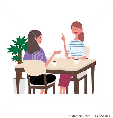 婦女的例證談話在咖啡館 43128364