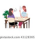婦女的例證談話在咖啡館 43128365