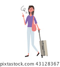 Female illustration with carry case 43128367