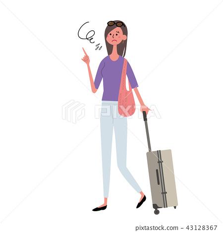 與便攜包的女性例證 43128367