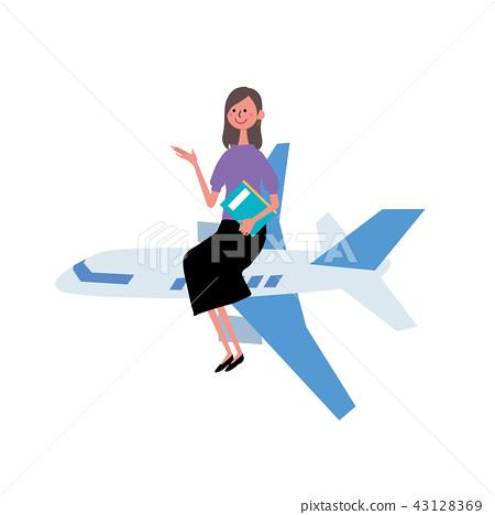 一名婦女的例證飛機的 43128369