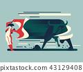 Bullfight, bull runs to the bullfighter.  43129408
