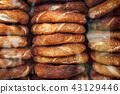 Stacks of simit bread in Istanbul, Turkey 43129446