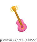 Pink ukulele, Hawaian National musical instrument vector Illustration on a white background 43130555