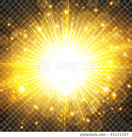 Sun light and sunburst glittering on transparency 43131107