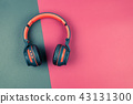 Vintage top view headphone on colorful background 43131300