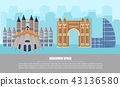 Barcelona city architecture card Vector 43136580