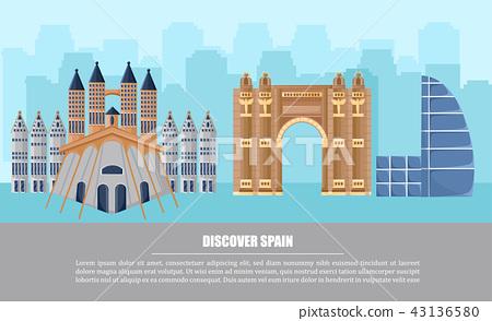 Barcelona city architecture card Vector 43136580