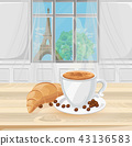 Coffee cup and croissant with Eiffel Tower 43136583