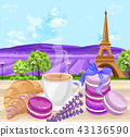 Cup of coffee with Croissants and macaroons 43136590