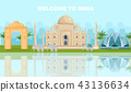 Welcome to India card with famous landmarks Vector 43136634