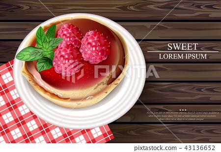 Raspberry cake Vector realistic. Sweet tasty 43136652