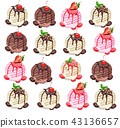 Ice cream scoops pattern Vector. Chocolate 43136657