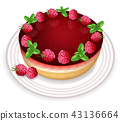 Raspberry cake Vector realistic. Sweet tasty 43136664