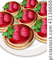 Raspberry mini cakes Vector realistic. Sweet tasty 43136666