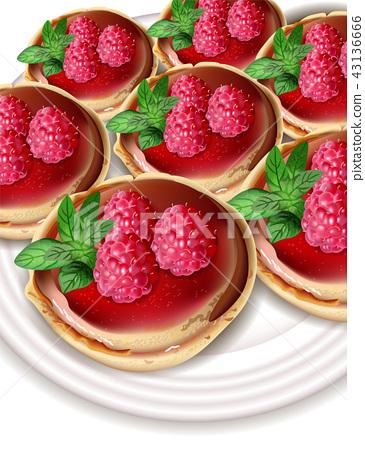 Raspberry mini cakes Vector realistic. Sweet tasty 43136666