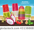 Tropic fruits ice cream hot summer banner 43136668