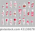 Raspberry cosmetics set collection Vector 43136678