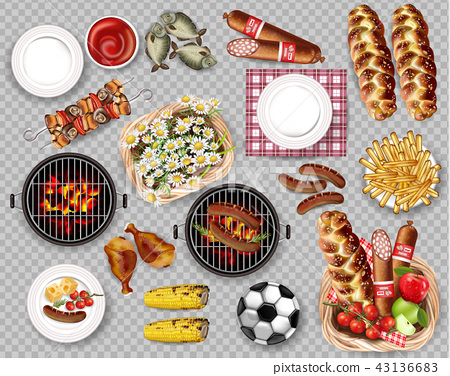 Food for Picnic bbq set collection isolated Vector 43136683