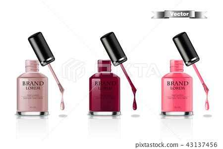 Nail polish set Vector realistic packaging. label 43137456