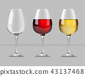 Red and white wine glasses isolated Vector 43137468