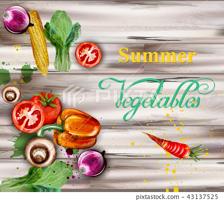 Watercolor vegetables on wooden background 43137525