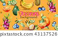 Watercolor fruits banner Vector. Kiwi, banana 43137526