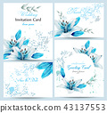 Blue lily Watercolor flower blossom card 43137553