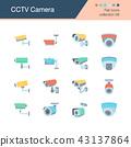 CCTV Camera icons. Flat design. 43137864